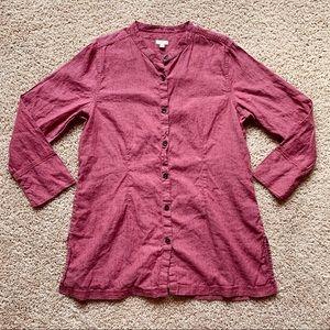 J. Jill Linen Cotton Button up Tunic Dress Top XL